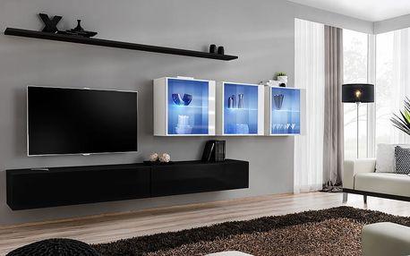 Obývací stěna SWITCH XVII, černá a bílá matná/černý a bílý lesk