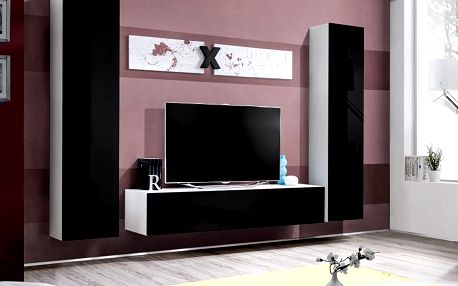 Obývací stěna AIR A1, bílá matná/černý lesk