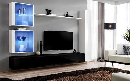 Obývací stěna SWITCH XVIII, bílá a černá matná/bílý a černý lesk