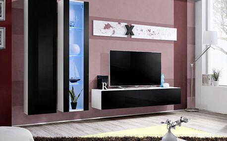 Obývací stěna AIR A4, bílá matná/černý lesk