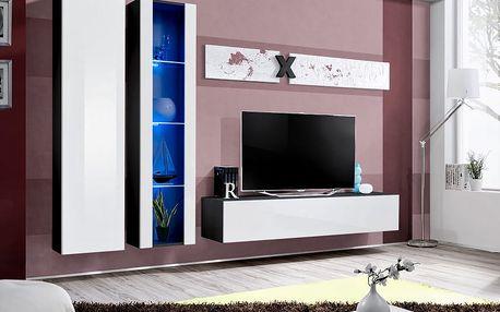 Obývací stěna AIR A4, černá matná/bílý lesk