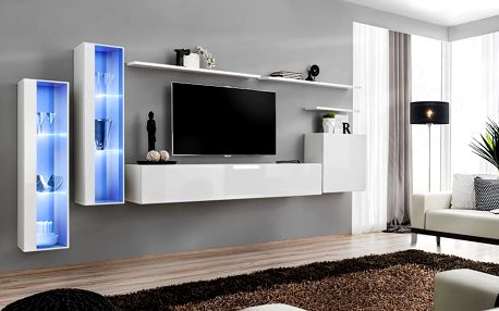 Obývací stěna SWITCH XI, bílá matná/bílý lesk