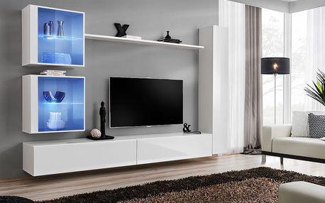 Obývací stěna SWITCH XVIII, bílá matná/bílý lesk