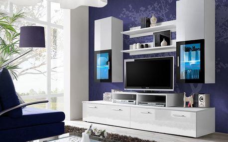 Obývací stěna MINI, bílá matná/bílý lesk
