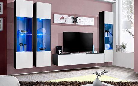 Obývací stěna AIR C3, černá matná/bílý lesk