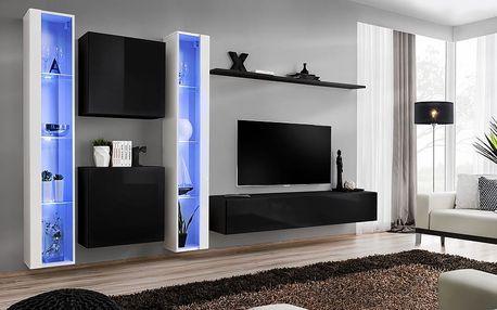 Obývací stěna SWITCH XVI, bílá a černá matná/bílý a černý lesk