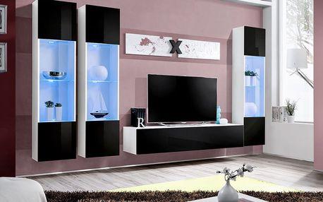 Obývací stěna AIR C3, bílá matná/černý lesk