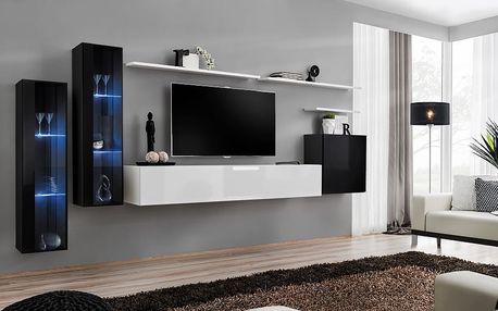Obývací stěna SWITCH XI, černá a bílá matná/černý a bílý lesk