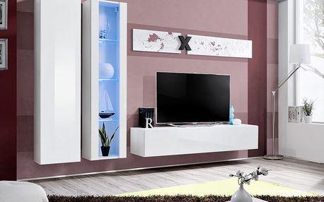 Obývací stěna AIR A4, bílá matná/bílý lesk