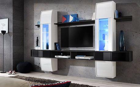Obývací stěna COMET I, bílá a černá matná/bílý a černý lesk