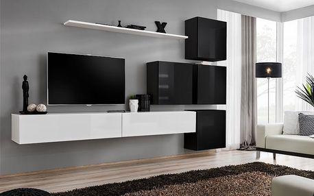 Obývací stěna SWITCH IX, bílá a černá matná/bílý a černý lesk