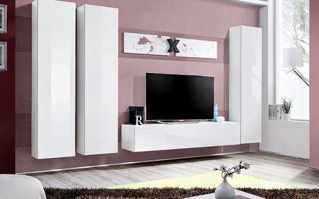Obývací stěna AIR C1, bílá matná/bílý lesk