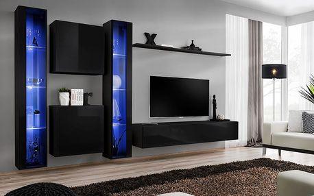 Obývací stěna SWITCH XVI, černá matná/černý lesk