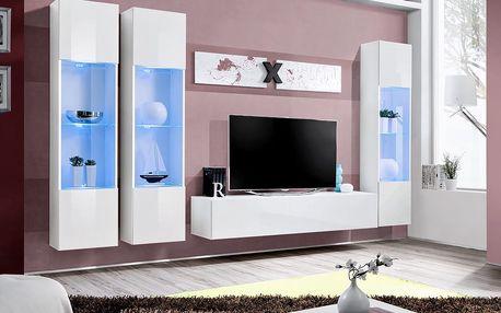 Obývací stěna AIR C3, bílá matná/bílý lesk