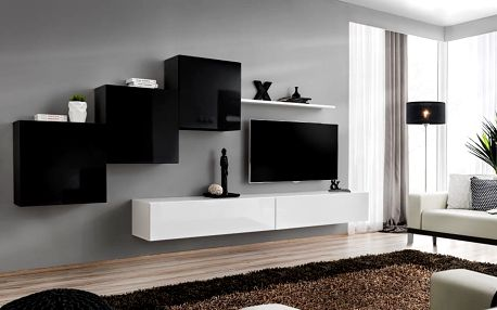 Obývací stěna SWITCH X, černá a bílá matná/černý a bílý lesk