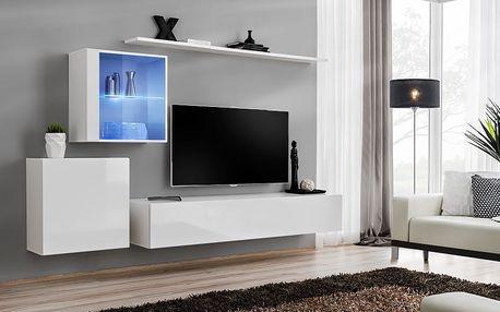 Obývací stěna SWITCH XV, bílá matná/bílý lesk