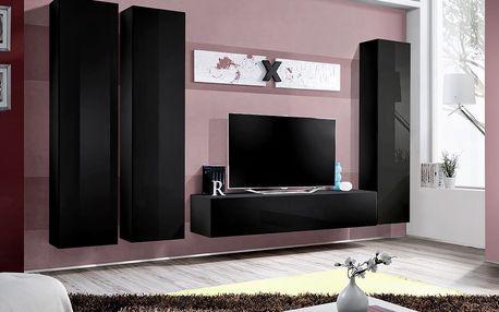 Obývací stěna AIR C1, černá matná/černý lesk