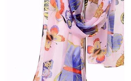 Dámský šátek s motýly - mix barev