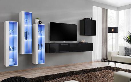 Obývací stěna SWITCH XIII, bílá a černá matná/bílý a černý lesk
