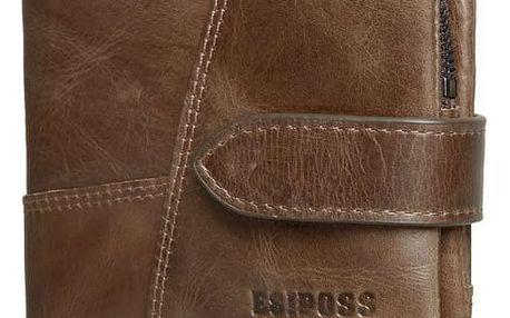 Pánská kožená peněženka se zapínáním na patenty