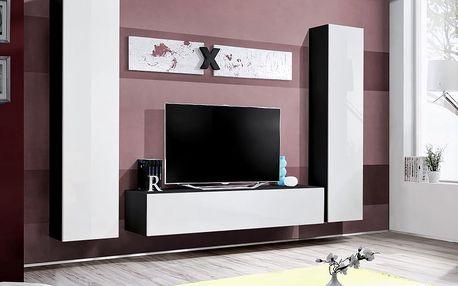 Obývací stěna AIR A1, černá matná/bílý lesk