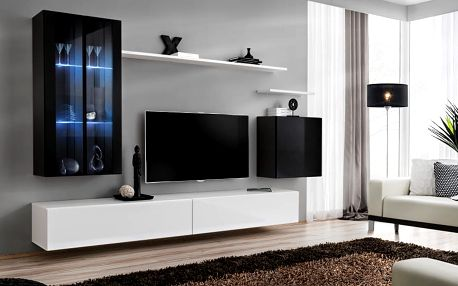 Obývací stěna SWITCH XII, černá a bílá matná/černý a bílý lesk