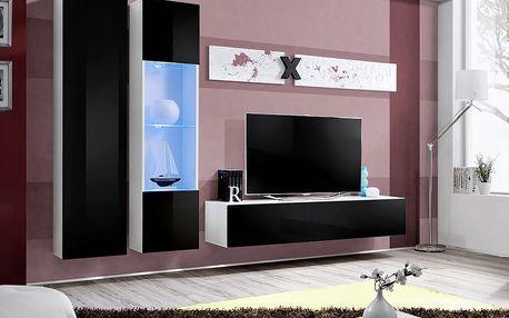 Obývací stěna AIR A5, bílá matná/černý lesk
