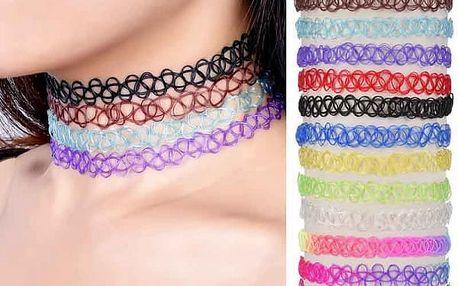 Sada 12 elastických retro náhrdelníků