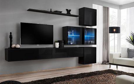 Obývací stěna SWITCH XIX, černá matná/černý lesk