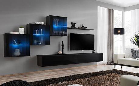 Obývací stěna SWITCH XX, černá matná/černý lesk