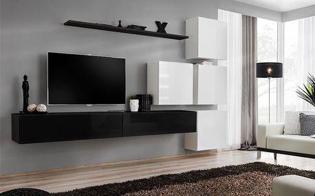 Obývací stěna SWITCH IX, černá a bílá matná/černý a bílý lesk