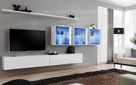 Obývací stěna SWITCH XVII, bílá matná/bílý lesk