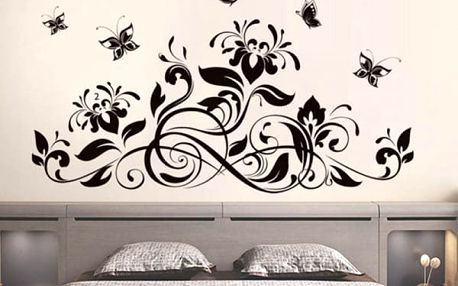Samolepka na zeď - motiv květin a motýlů