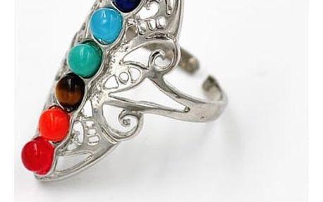 Nastavitelný prsten s kamínky v sedmi barvách