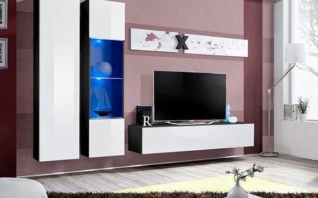 Obývací stěna AIR A5, černá matná/bílý lesk