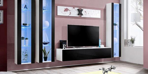Obývací stěna AIR C2, bílá matná/černý lesk
