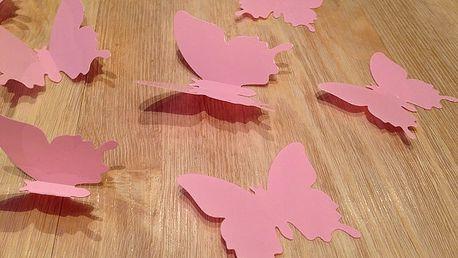 Nalepte.cz 3D motýli na stěnu světle růžová 12 ks šíře 6 x 10 cm, šíře 6 x 5 cm