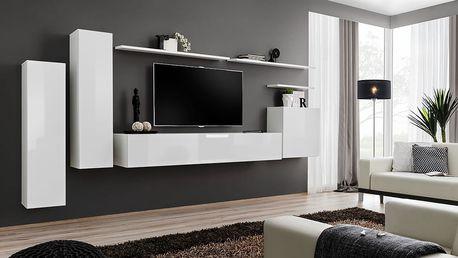 Obývací stěna SWITCH I, bílá matná/bílý lesk