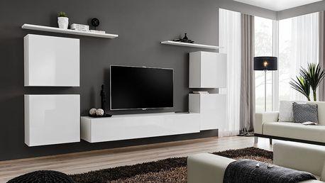 Obývací stěna SWITCH IV, bílá matná/bílý lesk