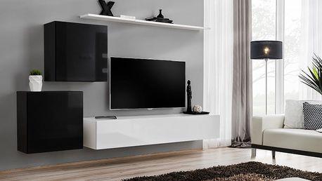 Obývací stěna SWITCH V, černá a bílá matná/černý a bílý lesk