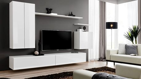 Obývací stěna SWITCH II, bílá matná/bílý lesk