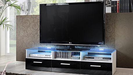 RTV stolek FRESH, bílá matná/černý lesk