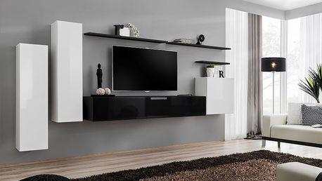 Obývací stěna SWITCH I, bílá a černá matná/bílý a černý lesk