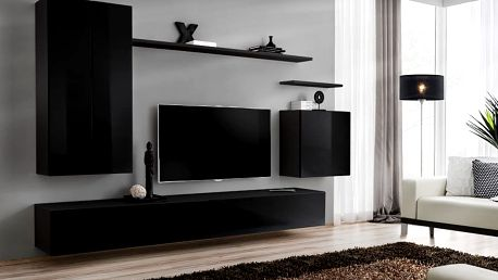 Obývací stěna SWITCH II, černá matná/černý lesk