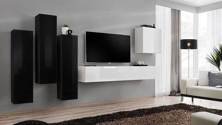 Obývací stěna SWITCH III, černá a bílá matná/černý a bílý lesk
