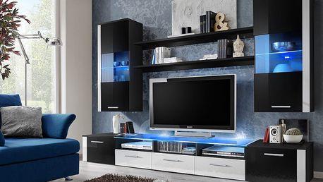 Obývací stěna FRESH, černá matná/černý a bílý lesk