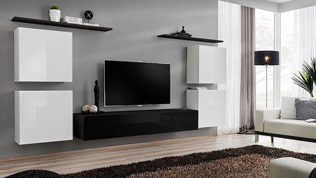 Obývací stěna SWITCH IV, bílá a černá matná/bílý a černý lesk