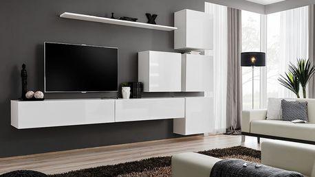 Obývací stěna SWITCH IX, bílá matná/bílý lesk
