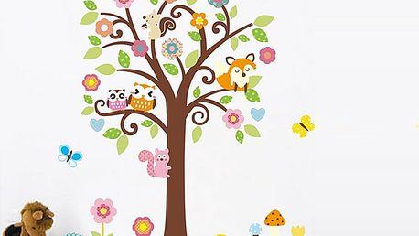 Veselá zvířátka na stromě 115 x 135 cm
