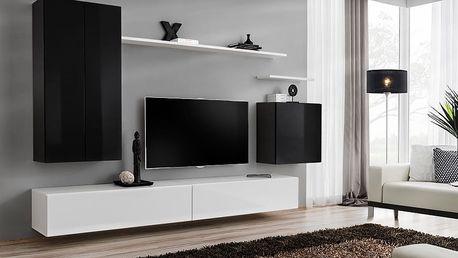 Obývací stěna SWITCH II, černá a bílá matná/černý a bílý lesk